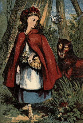 From illustrated book - Little Red Riding Hood followed by the wolf.